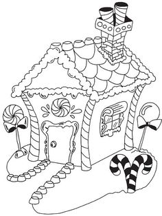 Gingerbread House Printable Coloring Sheet