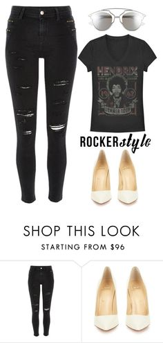 """""""Rocker Chic"""" by marion-fashionista-diva-miller ❤ liked on Polyvore featuring River Island, Christian Louboutin, Christian Dior, rockerchic and rockerstyle"""