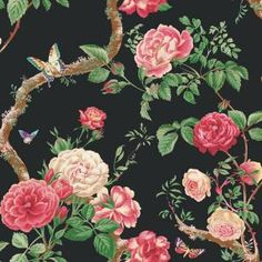 Future guest bathroom will have black wall paper with dramatic floral design