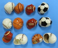"""Image detail for -Painted Hermit Crab Shells in Sports Ball Designs 1-1/4"""" to 2"""" Packed ..."""