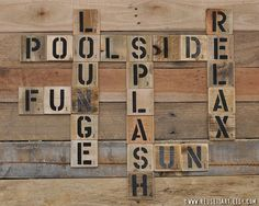 Poolside Summer Pallet Art Word Collage Large Scrabble Wall Decor Choose Lustre Fine Art Print or Gallery Wrapped Canvas Canvas Wall Decor, Room Wall Decor, Diy Wall Art, Sport Volleyball, Sport Basketball, Pool Shed, Word Collage, Collage Art, Scrabble Wall