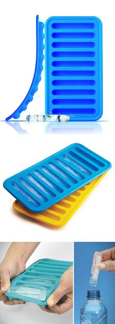 Tube shaped ice trays so you can chill your water bottles and soda cans // genius idea! #product_design