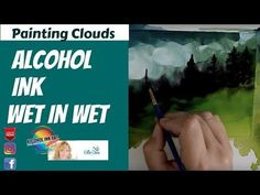 Wet in Wet Alcohol Ink Art Painting Techniques for Clouds using Snowcap. Watch this easy Alcohol Ink tutorial on HOW TO CREATE clouds and trees using this we. Alcohol Ink Jewelry, Alcohol Ink Crafts, Alcohol Ink Painting, Alcohol Ink Art, Stencil Printing, Puff Paint, Watercolor Sunset, Sharpie Art, Rubbing Alcohol
