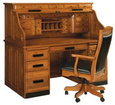Let this classic piece of solid wood furniture set the ambiance of your home or office. Our Amish Clarion Roll Top Desk will be crafted just for you.