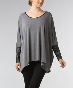 Look what I found on #zulily! Gray Faux Leather Sidetail Tunic by Dalin #zulilyfinds