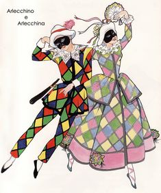 Harlequin and Columbine Pierrot Clown, Clown Party, Harlequin Pattern, Dance Art, Clowns, Vintage Costumes, Aesthetic Art, Illustrations Posters, Art Inspo