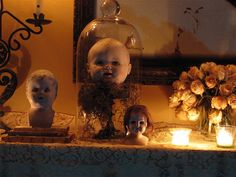 Creepy doll heads on display