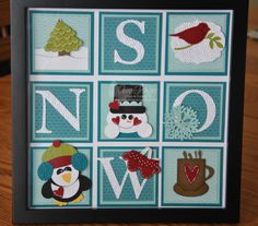 handmade winter collage ... stamping and punches  ... could be a card ... luv how the letters for SNOW appear in the squares ...