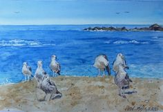 Watercolor Original Painting Nature Seagulls on the Beach artwork signed  #Realism