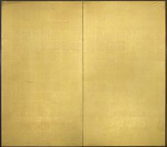 A two-fold paper screen in plain gold leaf. (20th century Showa period)