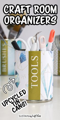 AD: Cricut makes it easy to add craft room organization using supplies from around the house. Use tin cans and coffee tins to create pretty and modern tin can storage holders for your craft room or home office. Can Storage, Craft Room Storage, Craft Organization, Craft Rooms, Organizing Ideas, Storage Ideas, Diy Projects On A Budget, Diy Craft Projects, Decor Crafts