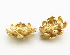 2 pcs of lotus brass charm 18mm-1896-matte gold by dannafan