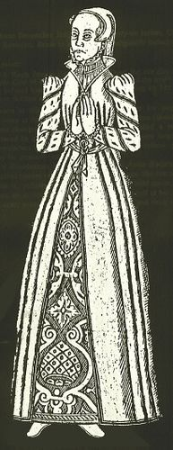 "1571, This is what we call today ""English Fitted Gown"" of the 1560's to early 1570's.  She has a damask kirtle, with a overgown could be woolen."