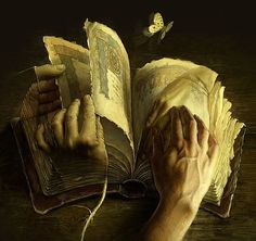 Beautiful Surreal Art by Andrew Ferez.  Whenever I read a library book, or buy a used book, I feel a sort of connection to those who have enjoyed it before.  It is almost as if I can feel echoes of the pleasure they felt while reading each page.