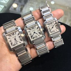 """A Tank Francaise Family! Men's, midsize, and ladies Stop by and check out more of our Cartier watches downtown in the Seybold building! . . """"Family owned, Family operated, come join our Family!"""" . . #cartier #cartiertank #cartierforsale #tank #tankfrancaise #jewelry #jewelryforsale #watches #watchbuyers #watchlife #watchworld #relojes #miami #luxury #luxurylife #luxurylifestyle #luxurywatches #luxurytime #timeforwatches #wbi #buyselltrade #webuy #wesell #wetrade #OGwatchbuyers #wcw #buy #..."""