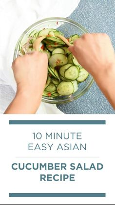 Asian Cucumber Salad, Cucumber Recipes, Healthy Salad Recipes, Vegetable Recipes, Whole Food Recipes, Diet Recipes, Healthy Snacks, Vegetarian Recipes, Healthy Eating