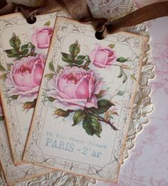 Rose Tags  French Rose Tags  Vintage Paris Rose por CreativeVisions use same idea but with a heart.