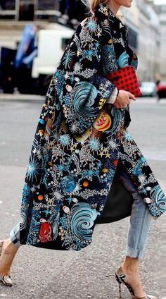 Elegant Fashion Starry Sky Printed Langarm Coat ~ Mantel - Beauty-Tips-Tricks Look Fashion, Street Fashion, High Fashion, Winter Fashion, Womens Fashion, Fashion Design, Elegance Fashion, Elegant Fashion Style, Elegance Style