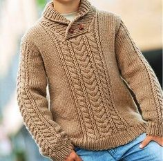 This Pin was discovered by Вир Knitting Patterns Boys, Baby Boy Knitting, Knitting For Kids, Knitting Designs, Boys Sweaters, Men Sweater, Baby Pullover, Pulls, Knitwear