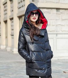Hooded Down Jacket Side Pockets Women Down Jacket Goose Down Coat Custom Made Plus size