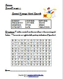 sound energy worksheets | Learning Ideas - Grades K-8 | Sound energy ...