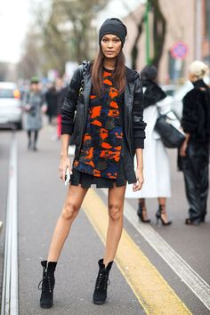 Joan Smalls , laceup boots put an edgy spin on her look