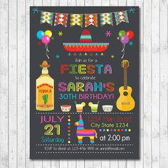 Mexican Fiesta Birthday Invitation Fiesta Invite by funkymushrooms