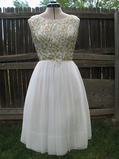 Vintage 1960s Sleeveless Gold and Silver Bodice with White Chiffon Skirt Dress for Prom/Party/Wedding. $128.00, via Etsy.