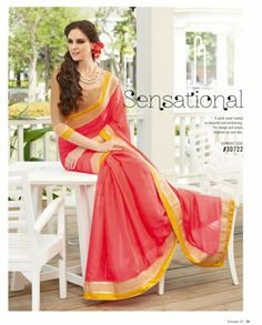 Coral Sari With Beige And Mustard Border