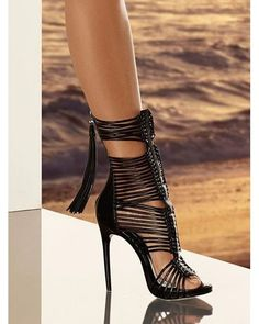 Black Sexy Open Toe Heel #heels