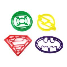Batman, Superman, Green Lantern and the Flash logos in cookie cutter form! - Handmade - 3D Printed with ABS - Dishwasher safe Plastic cookie cutter ideal for cookie-cutter-compatible dough recipes (su