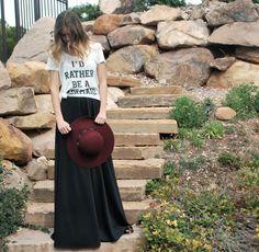 id rather me a mermaid tee, high waisted maxi skirt
