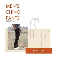 Men's Chino pants Sewing pattern with back welt pockets, front fly with zipper, side pockets, and waistband with five belt loops.