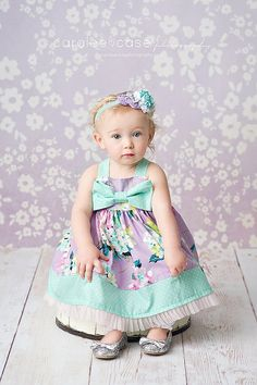 3t or 5t RTS- Girls Lavender Lovely Bow Dress - by Melon Monkeys