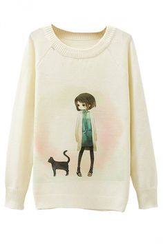 Ladies Girl And Cat Printed Crew Neck Pullover Sweater White - PINK QUEEN