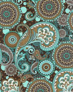 Brown and teal paisley pattern