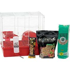"Hamster & Gerbil Starter Kit includes: 2-story home, solid-surface balcony, contour climbing tube, 6"" diameter exercise wheel, 2 lb. hamster/gerbil diet, treat bar, 5 liter bedding, 8 oz. water bottle and wire hanger and a dishwasher-safe food dish  Features washable, chew-proof, stain and rust-resistant wire  Deep scatterless plastic base reduces mess around habitat  Simple assembly, just snap together with no tools required  $43  Kate"