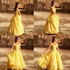 Emma Watson as Belle (Beauty & the Beast, ugh I love her dress! Yellow Ballgown, Yellow Gown, Beauty And The Beast Movie, Beauty And The Best, Costume Design, Ball Gowns, Harry Potter, Celebs, Pretty