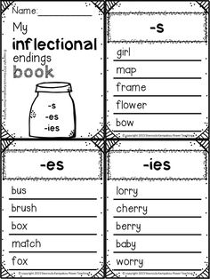 All about inflectional endings for Distance Learning! Task cards, worksheets, booklets,theory and practice!I have included theory cards to explain what inflectional endings are as well as what root words are Reading Resources, Teaching Reading, Inflectional Endings, English Grammar Worksheets, Montessori, Plural Nouns, Root Words, 2nd Grade Reading, Vocabulary Strategies