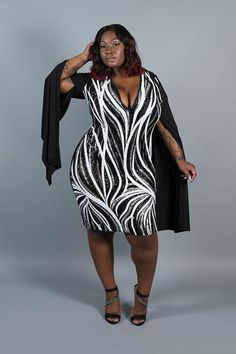 """Plus Size """"Dream Girl"""" Silver Sequin Open Sleeve V Neck Party Dress - Black/Silver"""