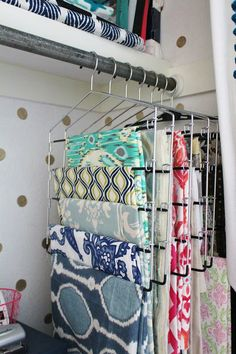 House For Five: Office Closet Reveal! Pant Hangers for Fabric Storage