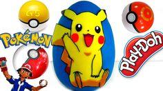 Huevo Sorpresa Gigante de Pikachu de Pokemon Y Duelo Pokemon de Play Doh...