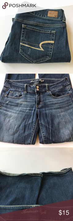 "AEO ""Artist"" cut stretch jeans ""Artist"" cut in size 8 short, these jeans have a bit of rolling on the cuffs(pictured) but the rest of the jeans are in great distressed shape! American Eagle Outfitters Jeans Boot Cut"