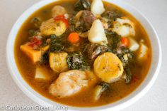 Bouillon is a traditional dish in Haiti usually prepared on Saturdays. It is full of root vegetables and leafy vegetables. It also contain meat and/or seafood. Many people prepare it with meat only or with seafood only or both.