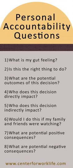 Personal accountability questions to as when faced with a difficult decision... #accountability #decision #confused