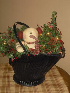 Coal bucket snowman arrangement