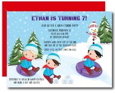 Boys Snow Tubing Invitation #kidsbirthday #invitations #printables Kids Birthday Party Invitations, Build A Snowman, Warm Outfits, Thank You Cards, Card Stock, Boys, Colors, Products, Make A Snowman