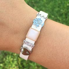Blush/champagne bracelet and silver charms. Create your own!
