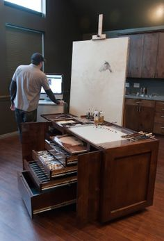 This thing is dope but I would probably never use it for fear of messing up such a nice piece of furniture! Oak Taboret for artist #workspace by Casey Childs