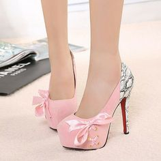 Elegant sweet bowknot cross lace spliced high-heeled shoes. $ 22.51